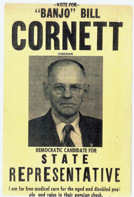 "Campaign poster for ""Banjo"" Bill Cornett (courtesy Jim Bollman)"