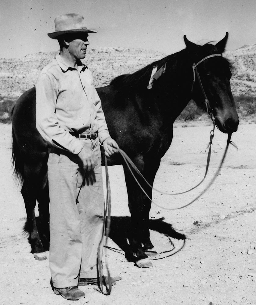 Tom and his beloved horse Smoky that he raised himself. According to his children, there were tears in his eyes the day he had to sell Smoky to raise money so they could buy a car. It appears from the ribbons that Smoky has won some contests