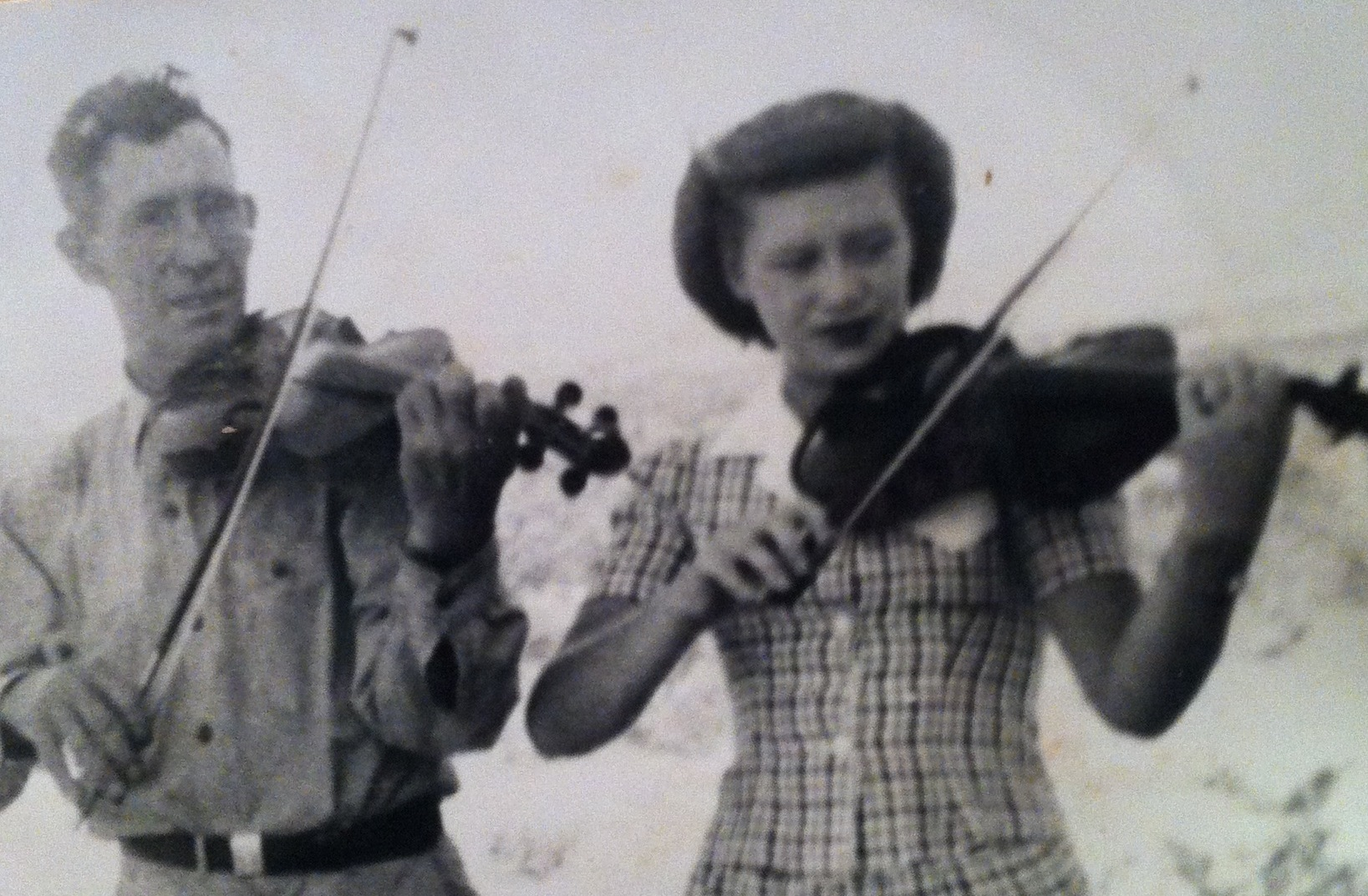 Tom depended on his daughter Jan for backup at dances until she left for college in 1947. They also enjoyed twin fiddling on hymns.